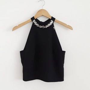 Elegant High Neck Crop Top